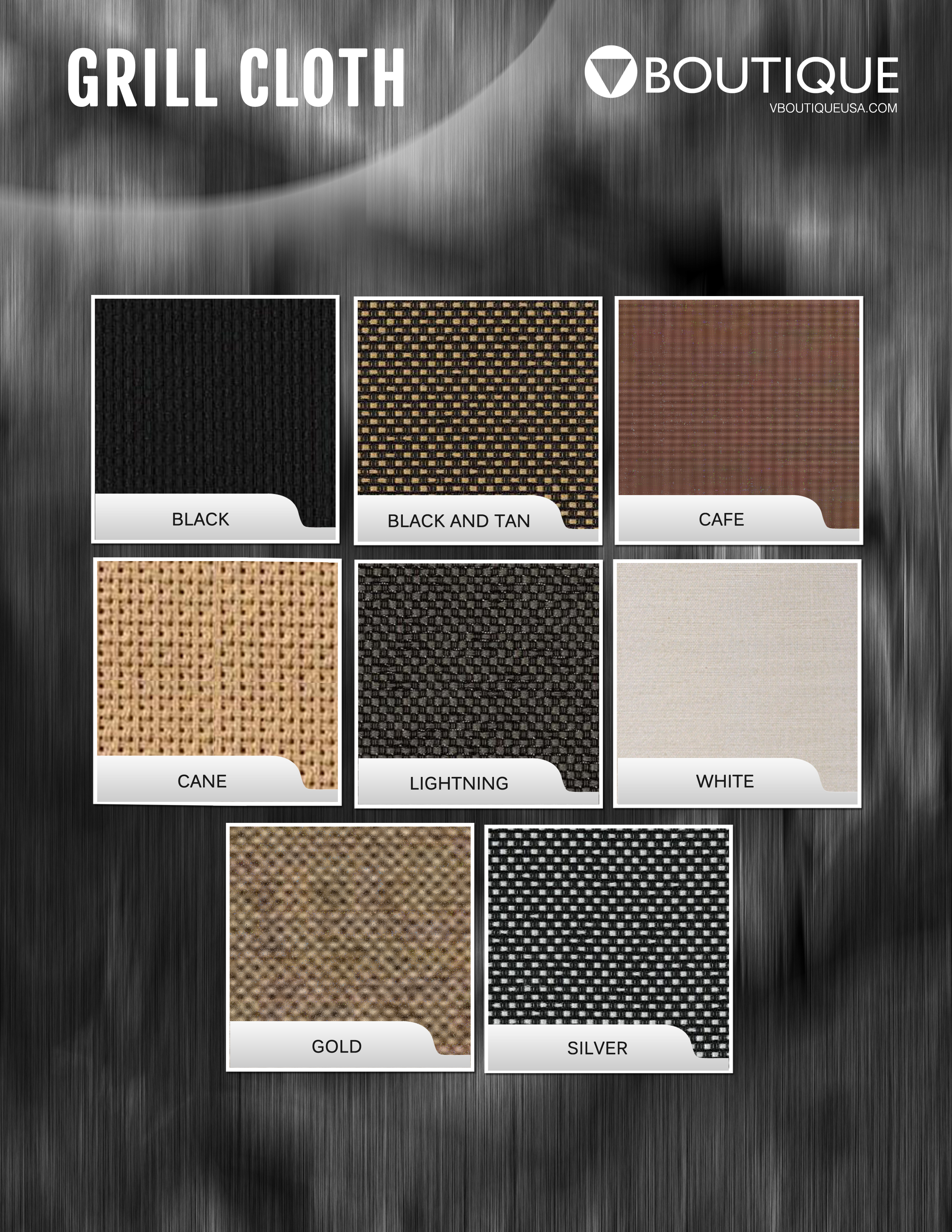 V Boutique 2018 Grill Cloth Swatches